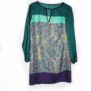 Zara Dresses - Zara Basic Colorblock Paisley Shift Dress Medium